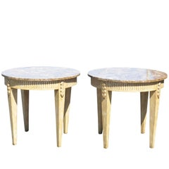 Pair of Directoire Style Marbletop Side Tables
