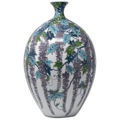 Large Japanese Hand-Painted Decorative Porcelain Vase by Master Artist