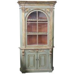 18th Century Empire Style Distressed Painted Corner Cabinet
