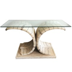 Sculptural Maitland Smith Tessellated Marble Console