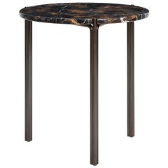 CA16S Contemporary Handcrafted Minimalist Modern Side Table with Stone Top