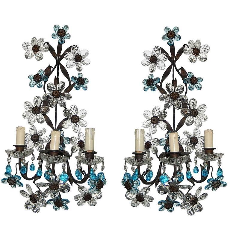 Aqua Blue Maison Bagues Style Three-Light Sconces