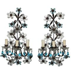 Aqua Blue Maison Bagues Style Three-Light Sconces