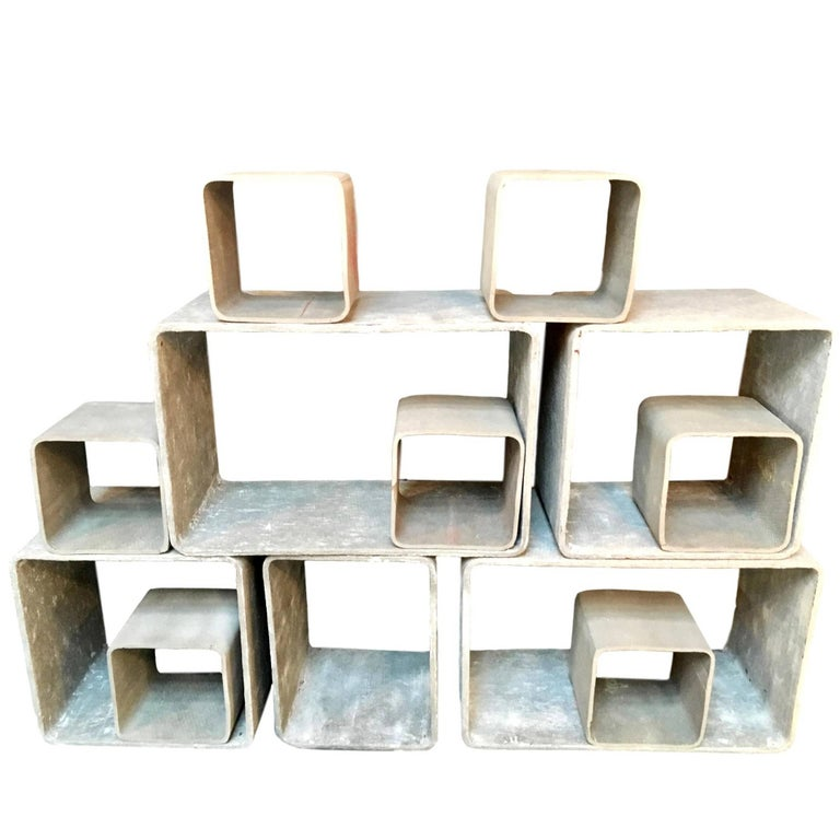 12 Piece Willy Guhl Modular Cement Bookcase 1