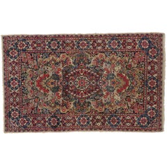 Antique Persian Kerman Rug with French Rococo Style, Small Persian Accent Rug