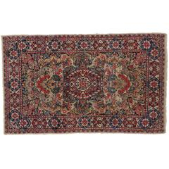 Antique Persian Kerman Rug with French Rococo Style