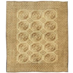 Turkish Rug with Multi-Medallions Tribal in Brown, Cream, and Light Taupe