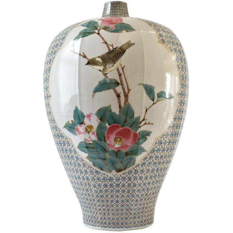 Japanese Large Kutani Decorative Porcelain Vase by Master Artist