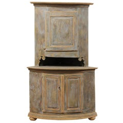 19th Century Swedish Painted Wood Corner Cabinet with Nicely Carved Details