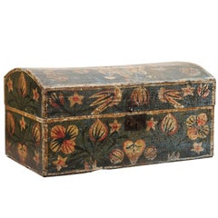 19th Century, Swedish Painted Brides Box with Floral Motif