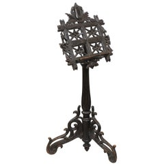 19th Century French Black Forest Music Stand with Carved Lyre Crest and Flowers