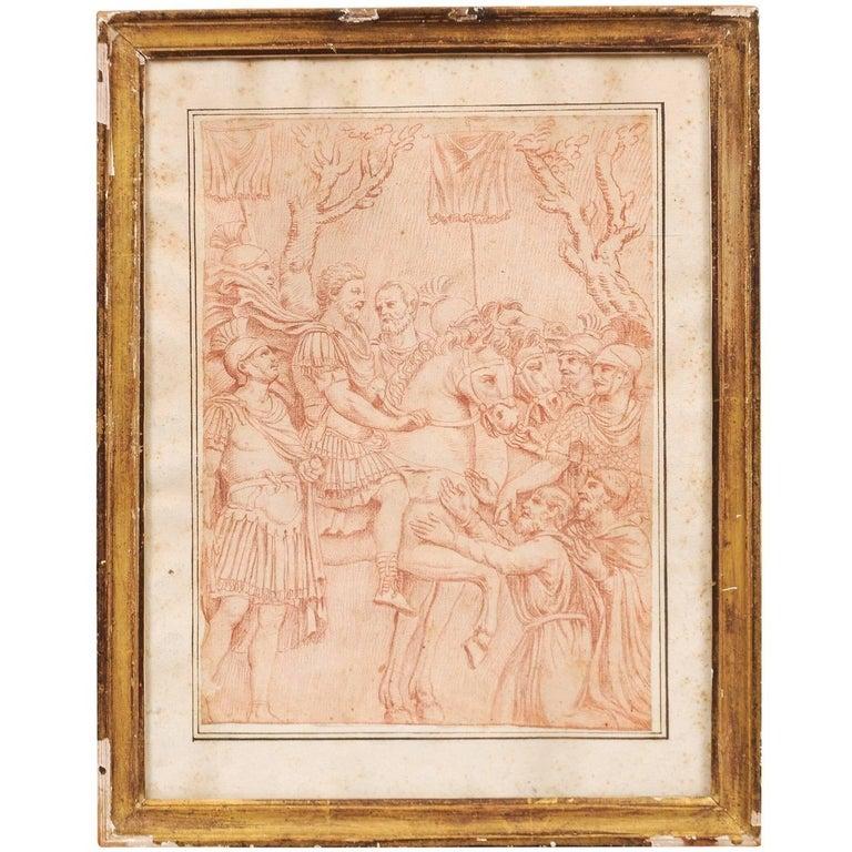 Gilt Framed Sanguine Drawing of Roman Scene, Italy 17th Century