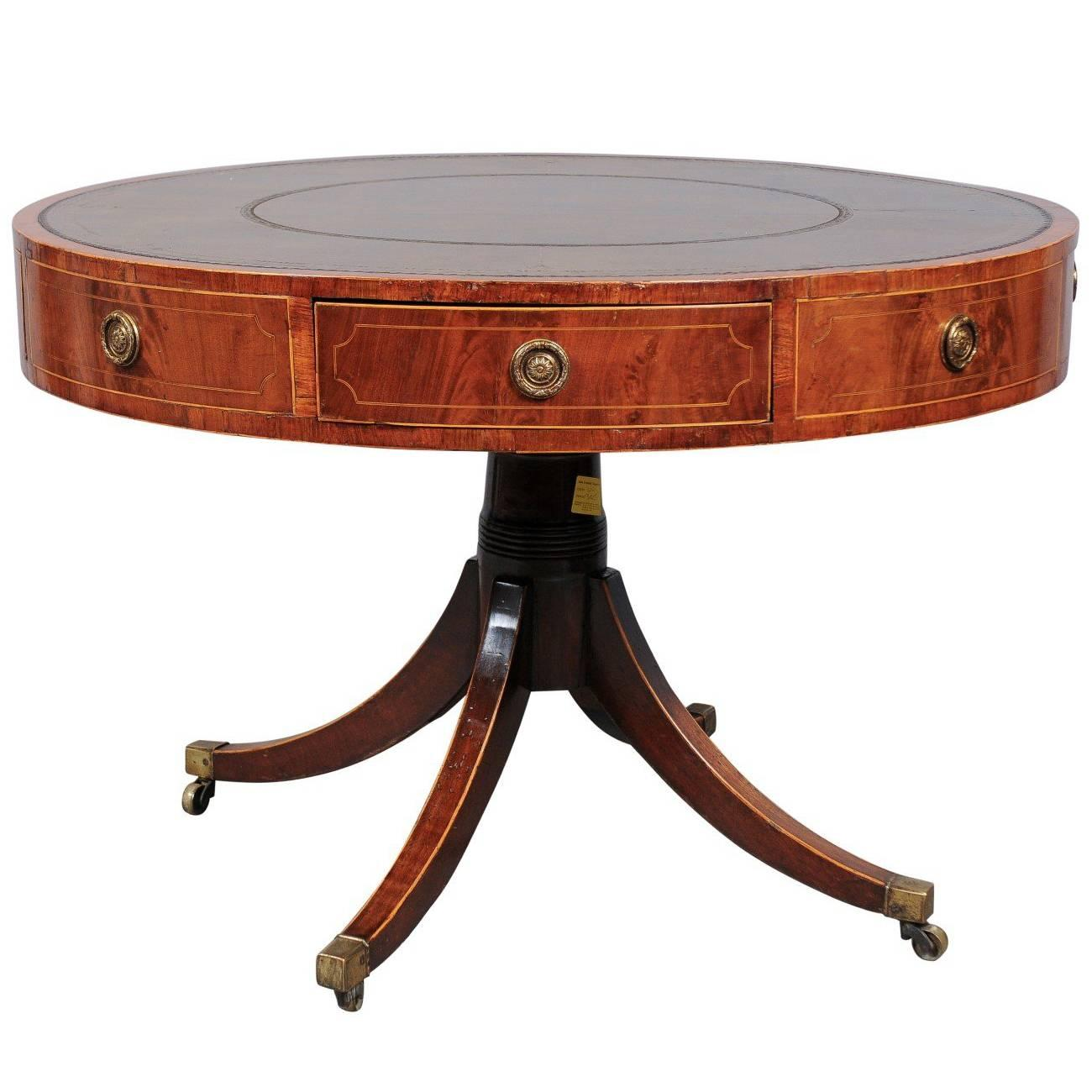 Revolving George III Mahogany Drum Table with Inset Green Leather Top