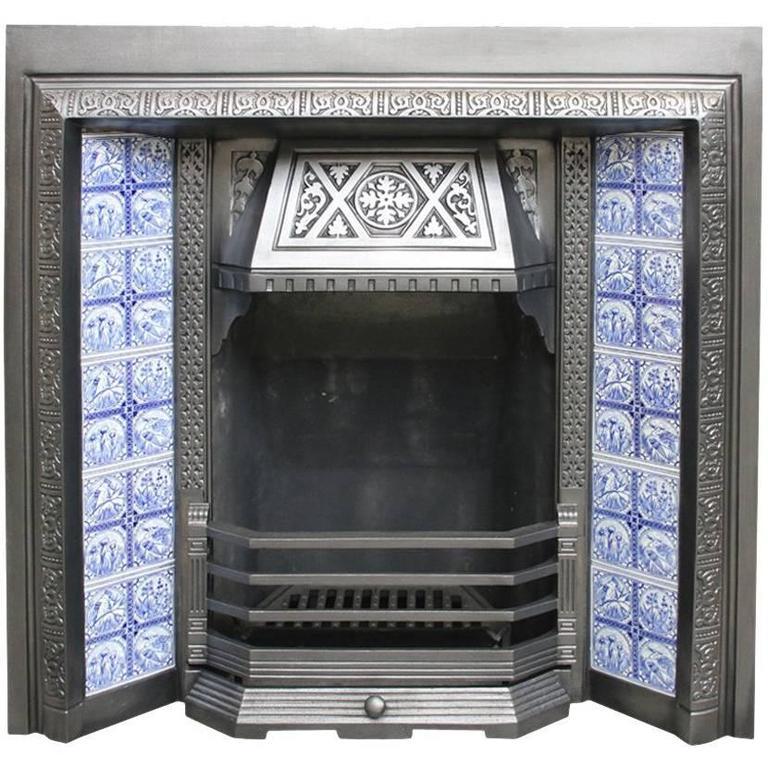 Restored Antique Aesthetic Cast Iron Fireplace Insert