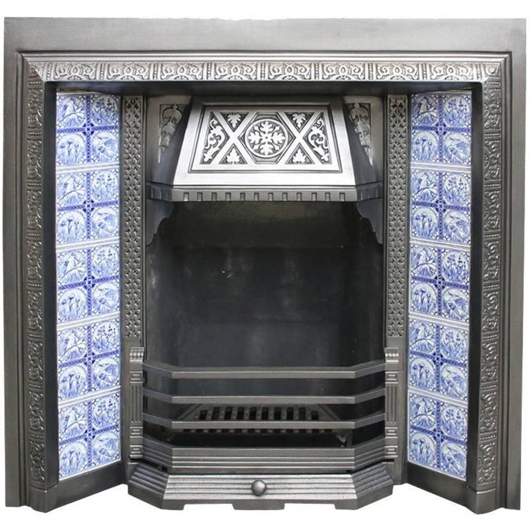 Restored Antique Aesthetic Cast Iron Fireplace Insert For Sale At