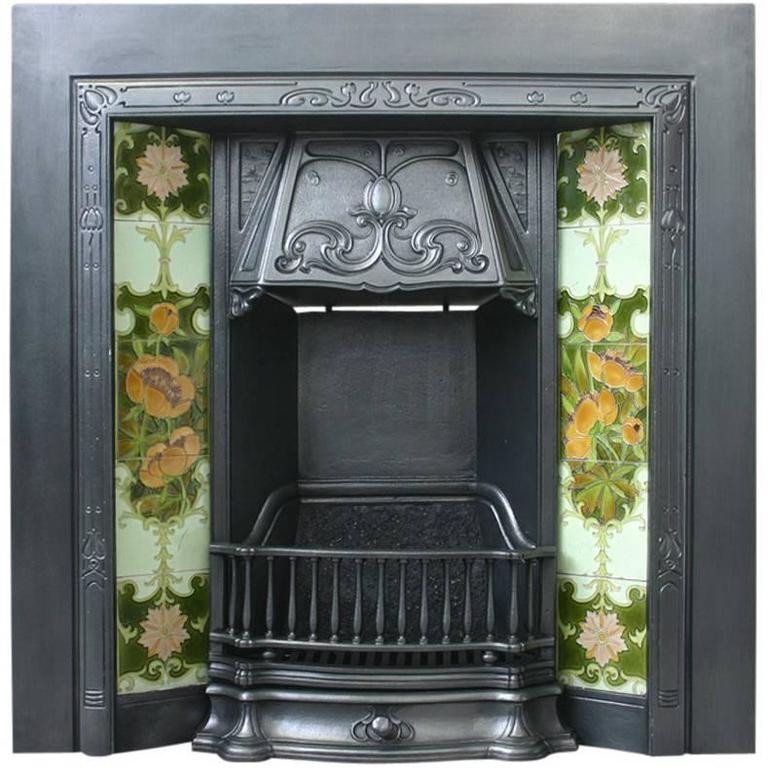 Antique Edwardian Art Nouveau Cast Iron Fireplace Insert For