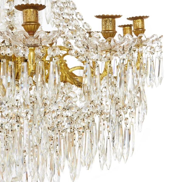Large Gilt Bronze and Crystal Antique French Chandelier in the Empire Style 5