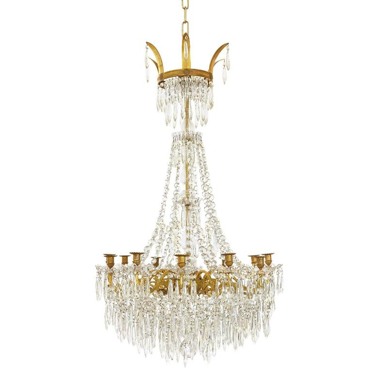 Large Gilt Bronze and Crystal Antique French Chandelier in the Empire Style