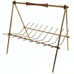 Brass and Solid Wood Magazine Rack, Italy, 1950s