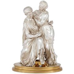 Silvered and Gilt Bronze Antique French Figural Sculpture of a Couple by Devaulx