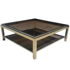 Brass and Chrome Coffee Table, Signed by Jean Charles
