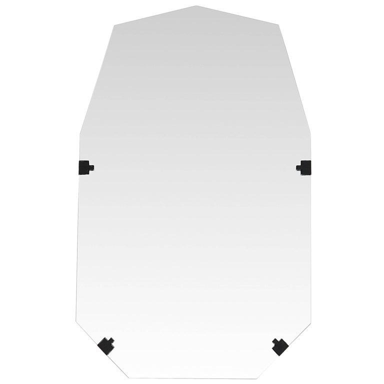 Stitch Nonagon Rectangular Contemporary Textile Edge Wall Vanity Bathroom Mirror For Sale