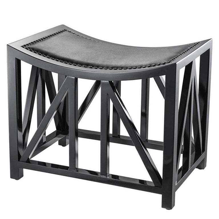Lautner Stool in Solid Mahogany Wood Black Lacquered