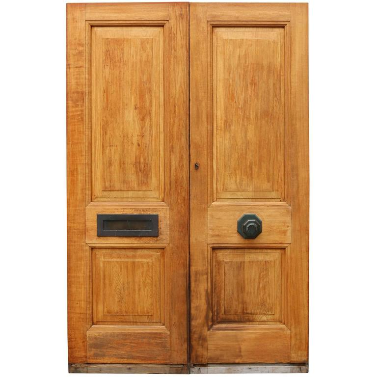 Pair of reclaimed teak exterior double doors for sale at for Double front doors for sale