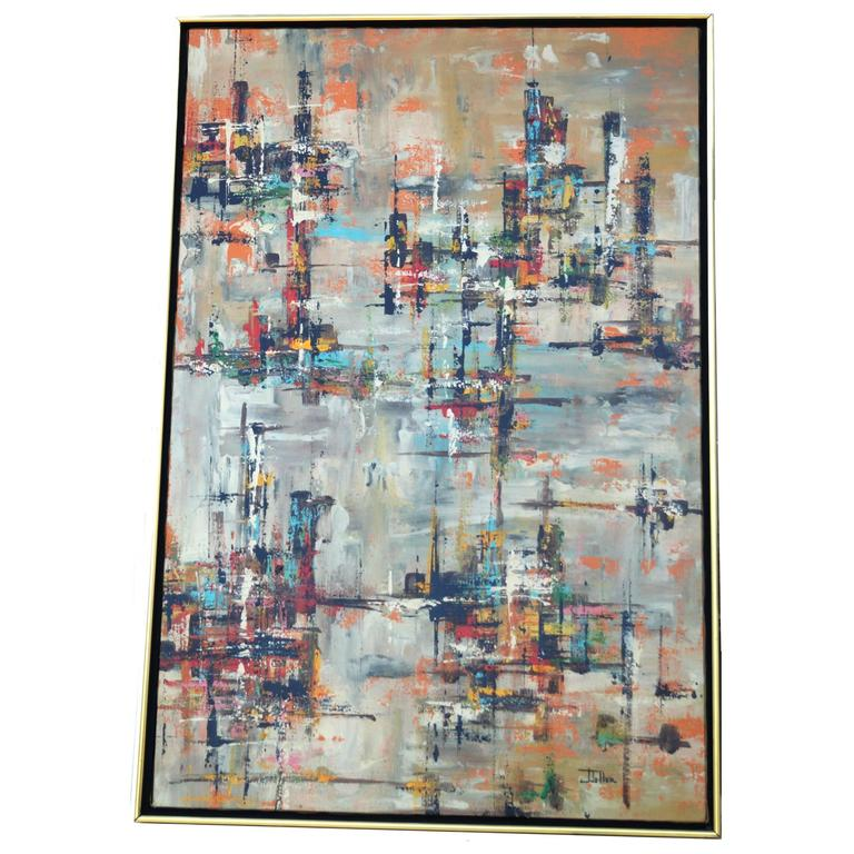 J. Toller Oil on Canvas Abstract Painting, Mid-Century Modern