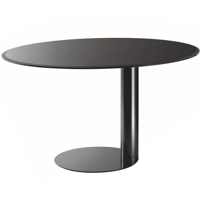 Gallotti and Radice Oto Table in Black, Blue-Grey or Liquorice Colored Glass