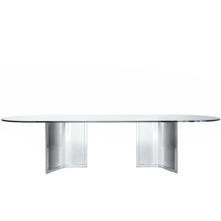 Gallotti & Radice Raj and Raj Light Table in Transparent Glass and Chrome