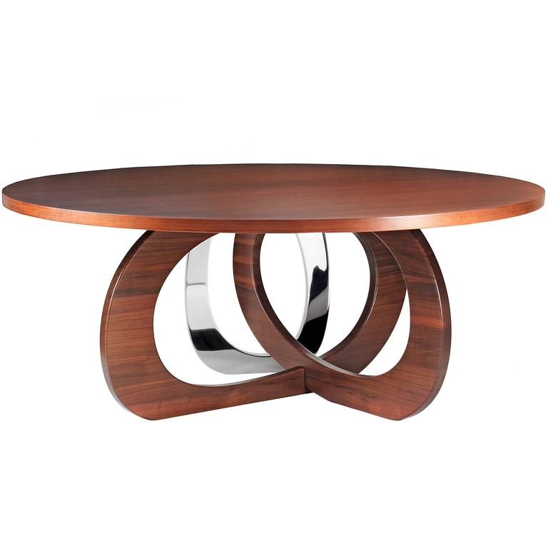 Wood Walnut Steel Circular Italian Dining Table Barberini Gunnell For Sale