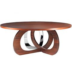 Wood Walnut Steel Circular italian Dining Table, Barberini Gunnell