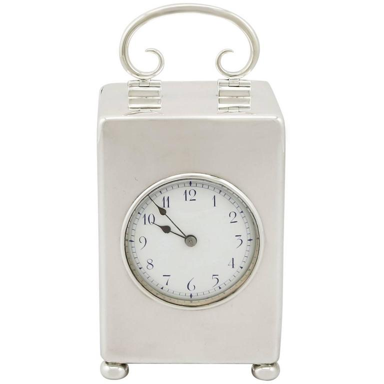 1900s Antique Edwardian Sterling Silver Carriage Clock For Sale