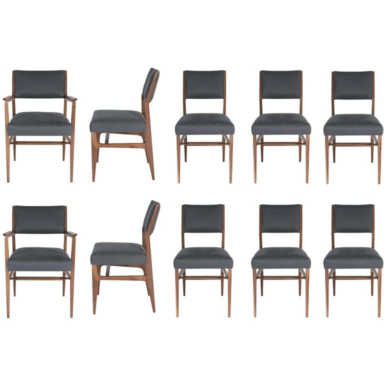 Set of Ten Maze Walnut Dining Chairs