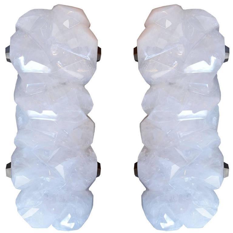 Large Pair of Fine Carved Abstract Form Rock Crystal Quartz Sconces