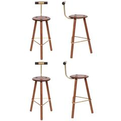 Erickson Aesthetics Set of Four Walnut Stools