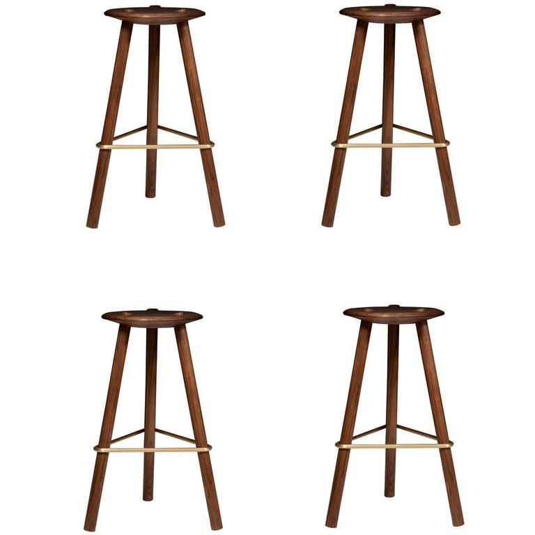Erickson Aesthetics Set of Four Walnut Stools For Sale