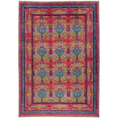 One-of-a-Kind Patterned & Floral Wool Handmade Area Rug, Stone, 10' 2 x 14' 1