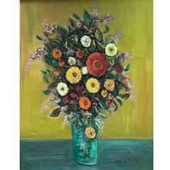 Jean Le Pelch Striking Colorful Still Life Painting on Canvas