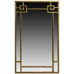 Large Faux Bamboo Brass Mirror