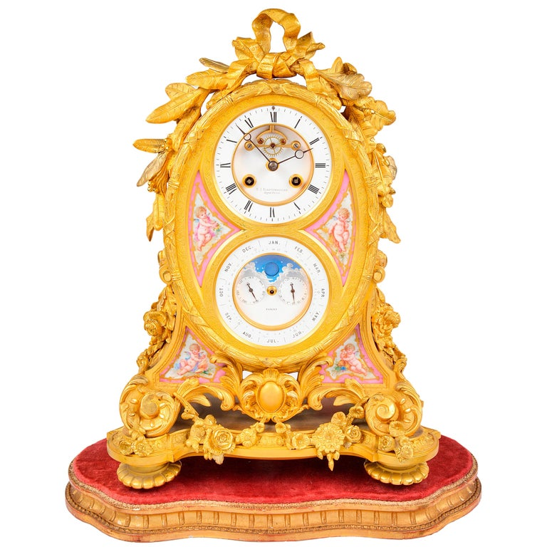 French Ormolu Calendar Mantel Clock, 19th Century For Sale