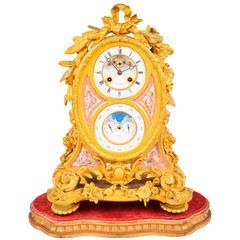 French Ormolu Calendar Mantel Clock, 19th Century