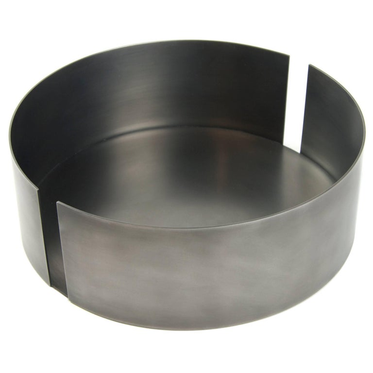 Contemporary Decorative Dark St. Steel Medium Bowl Vessel Centerpiece, In Stock For Sale