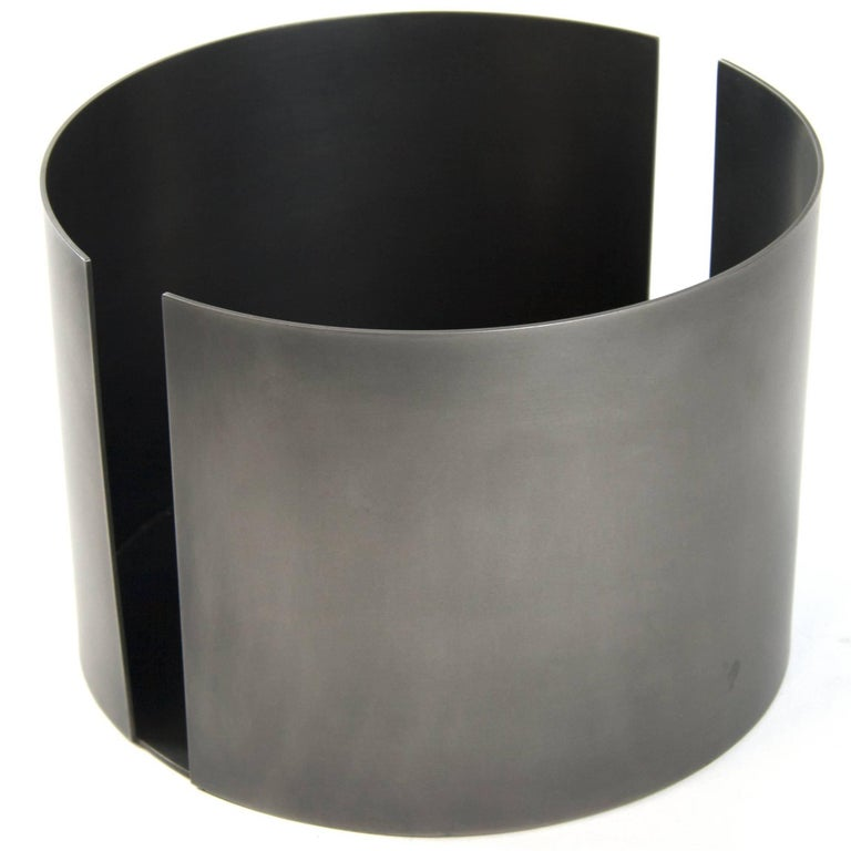 Contemporary Decorative Dark St. Steel Tall Bowl Vessel Centerpiece, In Stock For Sale