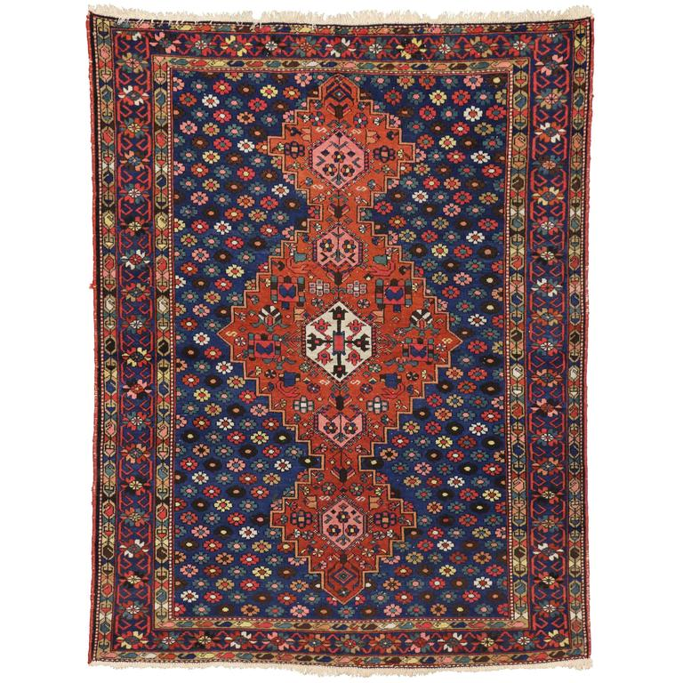 Persian Hand Woven Bakhtiari Style Wool Area Rug Ebth: Antique Persian Bakhtiari Rug With Modern Style In