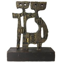 Brutalist Cast Metal Sculpture