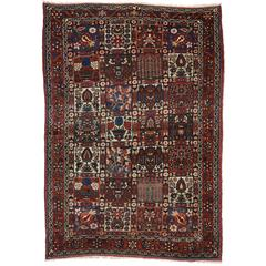 Rustic Style Antique Persian Bakhtiari Rug with Four Seasons Garden Design