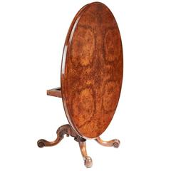 Fine Quality Victorian Oval Burr Walnut Centre Table