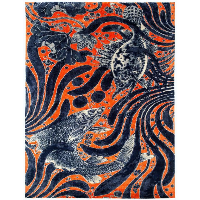 Orange and Indigo 'Aquatic Life' Area Rug in Silk and Wool
